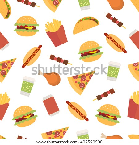 Seamless pattern with fast food on a white background. Tacos; hot dogs; pizza; burger; french fries; barbecue; chicken leg; drink. Flat style drawing.
