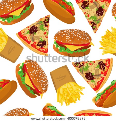 Seamless pattern with fast food on white background. Vector illustration