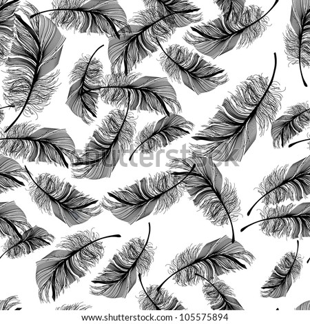 Seamless pattern with feathers - stock vector