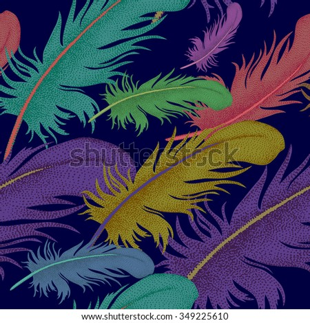 Seamless pattern with feathers. Decorative composition on a black background. - stock vector