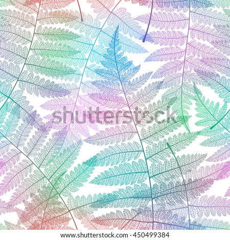 Seamless pattern with fern leaves on white background. Vector bright colorful botanical illustration.