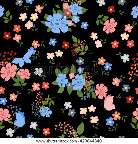 Seamless pattern with field flowers and butterflies. Vector illustration with colorful, vivid flowers and butterflies. - stock vector