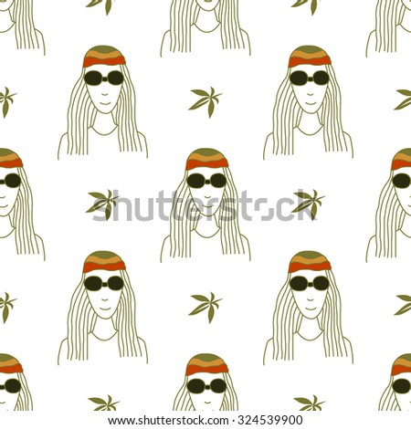 Seamless pattern with figures in the style of reggae on a white background - stock vector