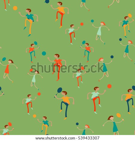 Seamless pattern with figures of athletes. Cartoon. Caricature.