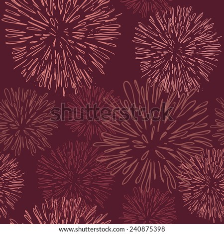 Seamless pattern with fireworks in this year's color, Marsala