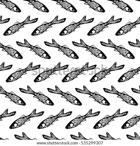 Seamless pattern with fish. Black and white. Graphic style. Nordic design.