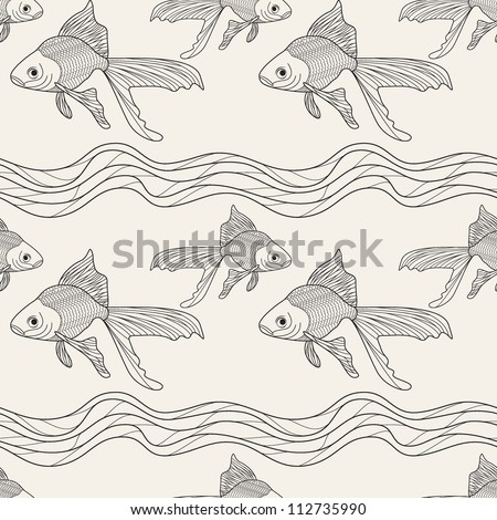 seamless pattern with fish. graphic repeating texture - stock vector