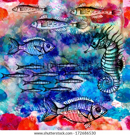 Seamless pattern with fish swimming in the sea. Vector illustration, EPS 10  - stock vector