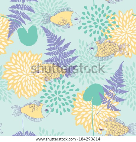 Seamless Pattern with Fishes and Leaves - stock vector