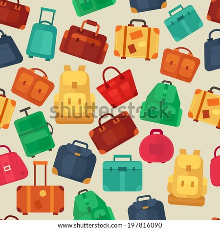 Seamless pattern with flat colorful luggage