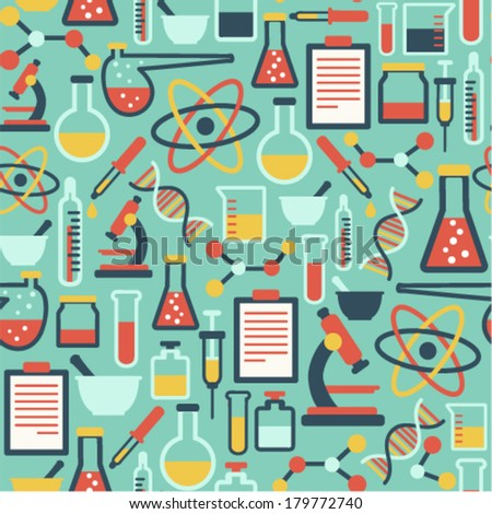 seamless pattern with flat science icons - stock vector