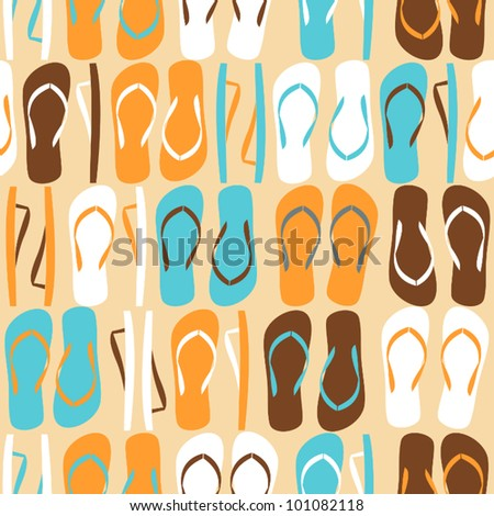 Seamless pattern with flip-flops in orange, blue, white and brown. - stock vector