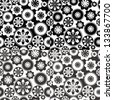 Seamless pattern with floral and geometrical ornament. Vector decorative background with ornamental rosettes. Black and white illustration - stock photo
