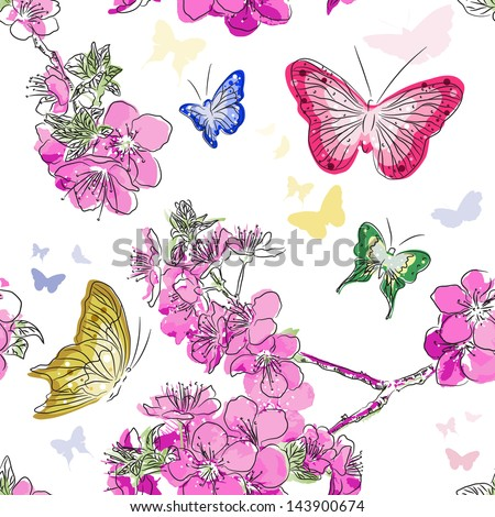 Seamless pattern with floral background with butterflie - stock vector