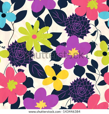 Seamless pattern with flower - stock vector