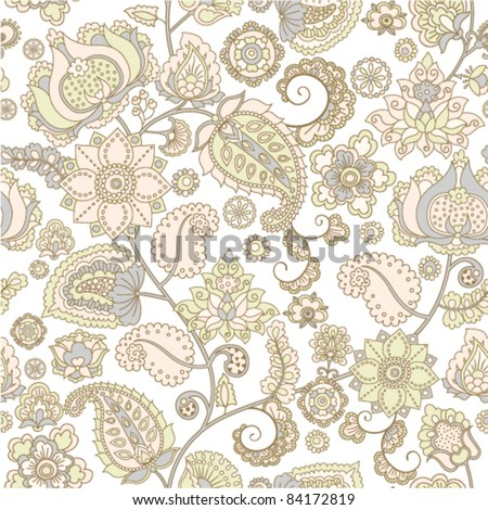 seamless pattern with flower ornament - stock vector