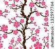 Seamless pattern with flowering branch of sakura, vector illustration - stock vector