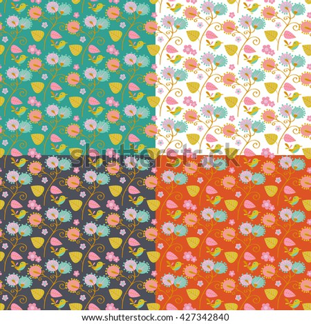 Seamless pattern with flowers and birds - stock vector