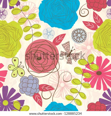Seamless  pattern with flowers and butterflies. - stock vector