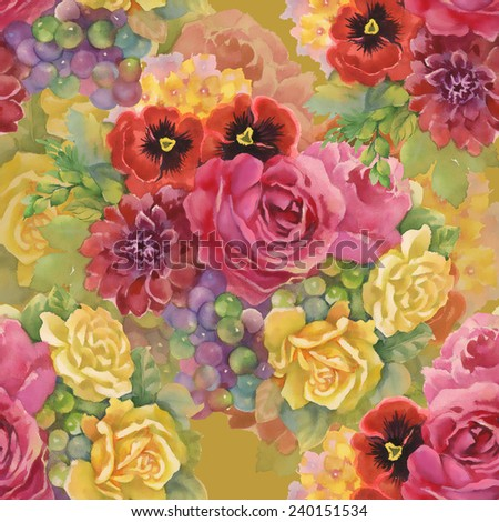 Seamless pattern with flowers and grape on yellow background vector illustration - stock vector
