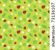 Seamless pattern with flowers and ladybirds on green - stock vector