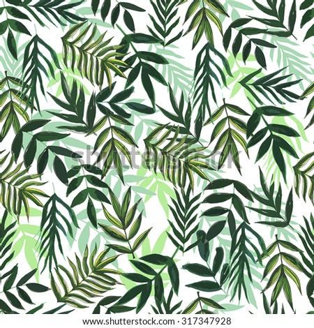 Seamless pattern with flowers and leaves. Green Background - stock vector