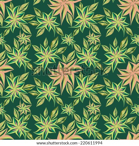 Seamless pattern with flowers and leaves ( vector ).