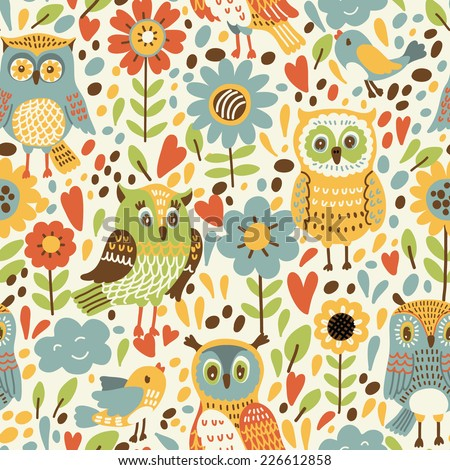 Seamless pattern with flowers and owls. Vector illustration which can be used as wallpaper or wrapping paper - stock vector