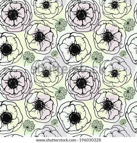 seamless pattern with flowers anemones
