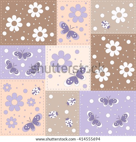 seamless pattern with  flowers, butterflies and lady bug  on square background, vector illustration - stock vector