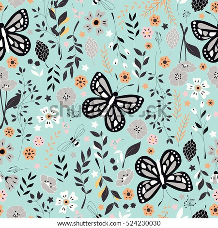 Seamless pattern with flowers, floral elements and butterflies, nature life, vector illustration