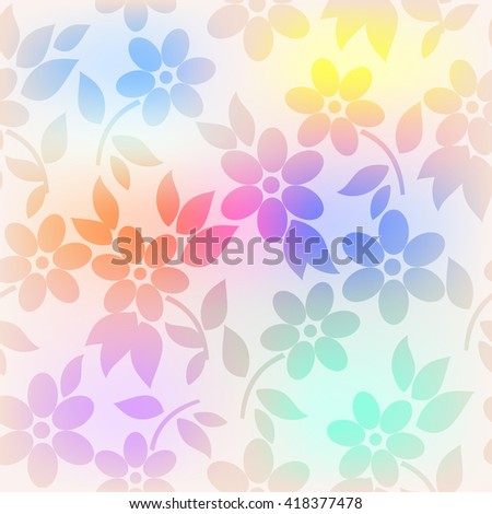Seamless pattern with flowers, floral vector background. - stock vector