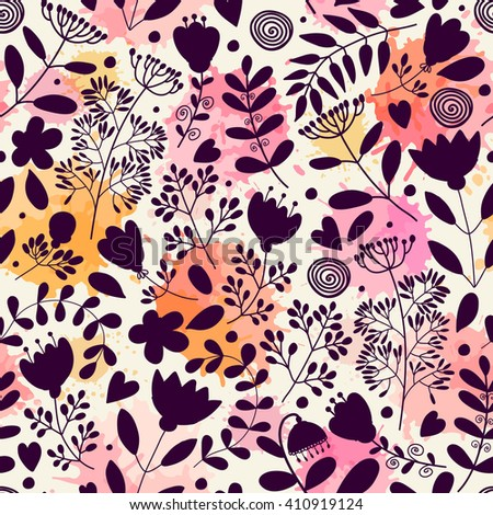 Seamless pattern with flowers. Freehand drawing