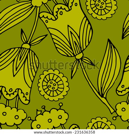 Seamless pattern with flowers green
