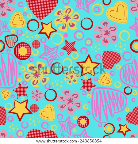 Seamless Pattern with Flowers, Hearts and Stars on blue background. Greeting card. Happy Valentine's Day. Suitable for various designs, fabric, invitation and scrapbook. Vector illustration. EPS 10 - stock vector
