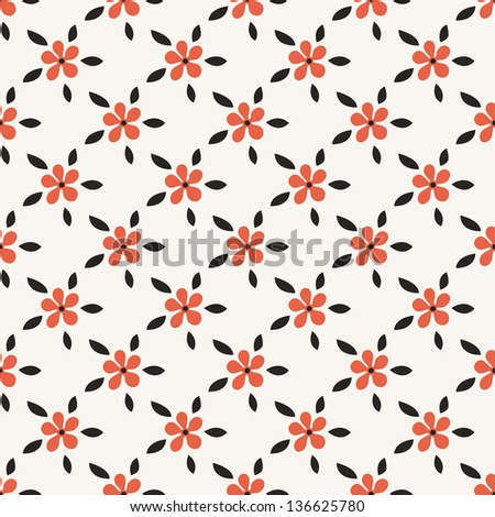 Seamless pattern with flowers in stile of polka dot. Stylish vector texture - stock vector