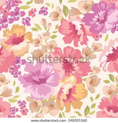 Seamless  pattern with flowers on a light background. Vector illustration. - stock vector