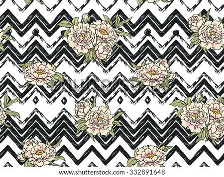 Seamless pattern with flowers on the zig zag background. Floral background with peonies - stock vector