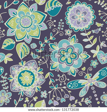 Seamless pattern with flowers. Ornate floral wallpaper