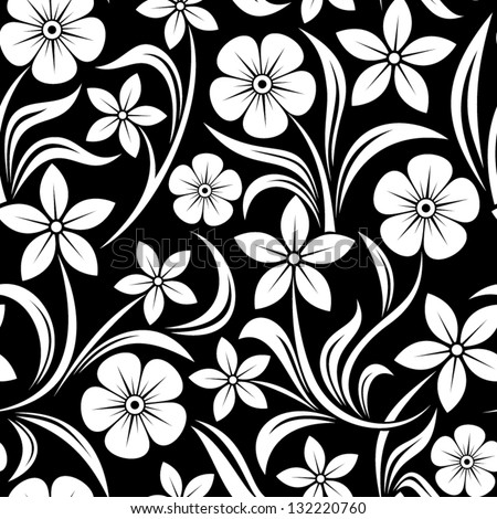 Seamless pattern with flowers. Vector illustration. - stock vector