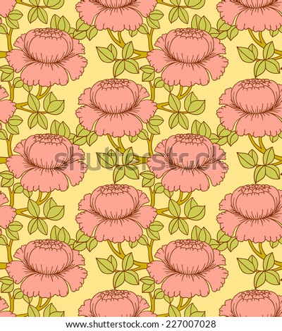 Seamless pattern with flowers, vector illustration - stock vector