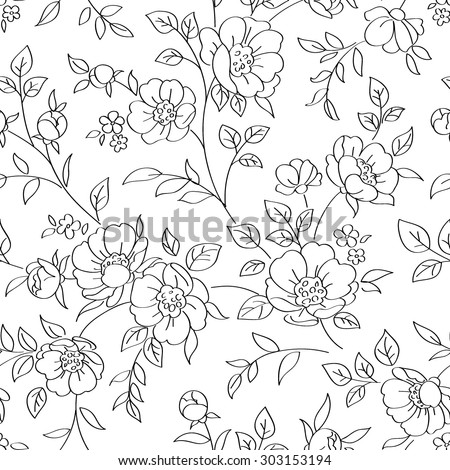 Seamless pattern with flowers. Vector illustration - stock vector