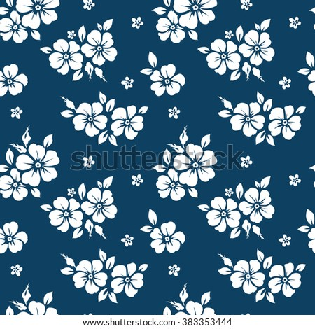 Seamless pattern with flowers. Wild roses - stock vector