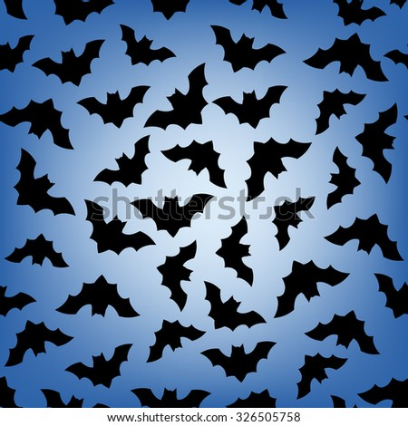 Seamless pattern with flying bats. Halloween background. - stock vector