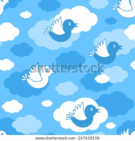Seamless pattern with flying birds on the clouds - stock vector