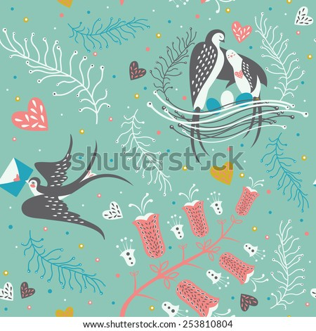 Seamless pattern with  flying swallow, bird parents and eggs in the nest and floral elements. Cute greeting Birthday card, invitation or decor element in vector.