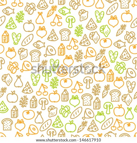 Seamless pattern with food elements - stock vector