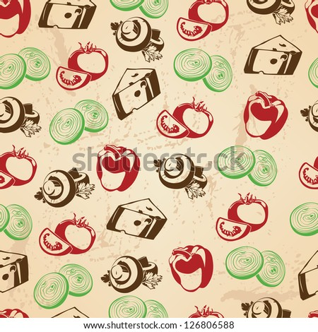 Seamless pattern with food icons background for your design - stock vector