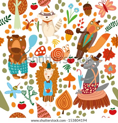 Seamless pattern with forest animals. Bear, fox, hedgehog, raccoon, wolf,snail,mosquito - stock vector
