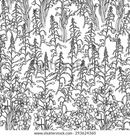 Seamless pattern with forest herbs and flowers.